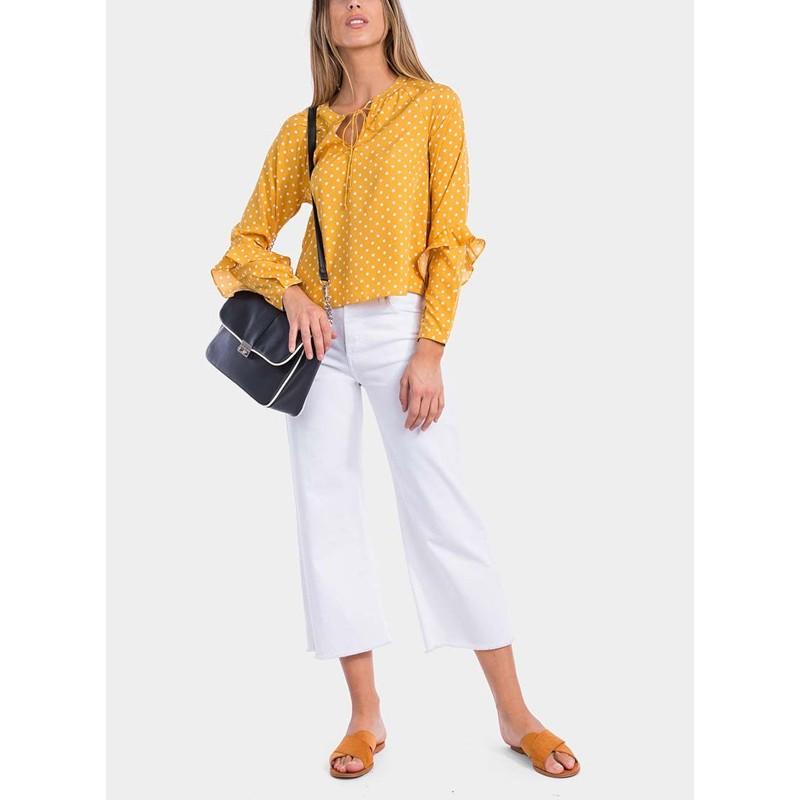 blusa amarilla de lunares